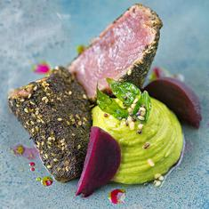 Yellowfin Tuna Loin With Avocado Pachadi And Pickled Beets