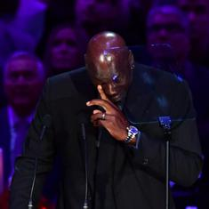 Watch: Michael Jordan's emotional tribute at the Kobe Bryant memorial