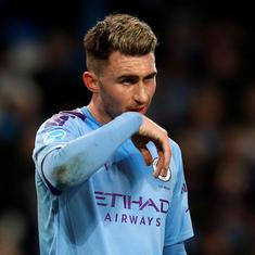 Manchester City boss Guardiola says defender Laporte out for up to a month with hamstring injury