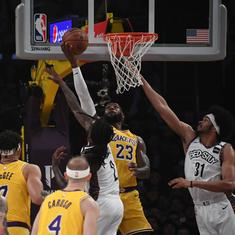 NBA wrap: James, Davis misfire as Nets shock Lakers; Celtics reach playoffs with win against Pacers
