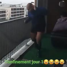 Watch: French man copes with coronavirus lockdown by running marathon on his balcony
