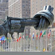 The Art of Solitude: Through the sculpture of a knotted gun, imagine a world without violence