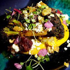 Charred Broccoli, Pumpkin Hummus, Feta, Peppered Cashew And Roasted Grapes