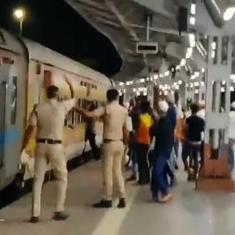 Watch: Mumbai Police officials run behind train to help a group of migrant workers get on board
