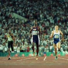 Pause, rewind, play: Michael Johnson's historic double gold at 1996 Atlanta Olympics – in gold shoes