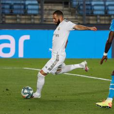Watch: Karim Benzema's sublime volley against Valencia in Real Madrid's comfortable La Liga win
