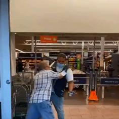 Watch: Man refuses to wear face mask at  supermarket, gets into scuffle with store security