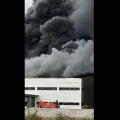 Caught on camera: Massive fire breaks out in a factory in Sanand industrial area, Ahmedabad