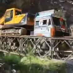 Caught on camera: Bailey bridge near India-China border collapses under overladen truck