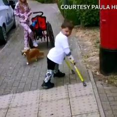 Watch: Five-year-old boy walks over six miles on his new prosthetic legs to raise funds for hospital