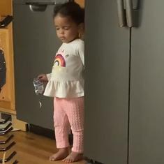 Watch: Little girl feigns sleep when caught stealing snacks