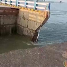 Watch: Built barely a month ago, part of Sattarghat bridge in Bihar collapses due to heavy rain