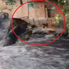 Watch: Horrifying video of a house collapsing after Sunday's heavy rainfall in New Delhi