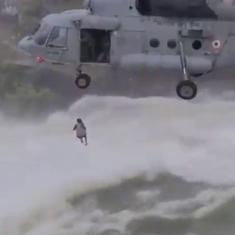 Watch: Air Force helicopter rescues man from 'torrential flow' of water at Bilaspur's Khutaghat Dam