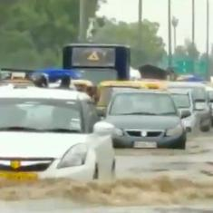 Watch: Waterlogging persists in several areas of Delhi and Gurugram as NCR receives heavy rainfall