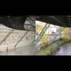 Watch: How a ride along the route of a suspended railway in Germany looked – in 1902 and in 2015