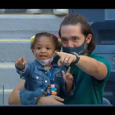 Watch: Serena Williams' adorable three-year-old daughter Olympia waves at her at the US Open