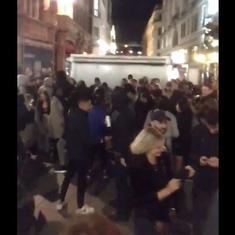 Watch: Londoners throng Oxford Circus for an 'impromptu party' during 10 pm curfew