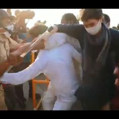 Caught on camera: Priyanka Gandhi shielding Congress party workers during scuffle with police