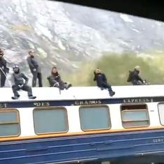 Watch: Actor Tom Cruise spotted on top of a train shooting for the next 'Mission Impossible' film