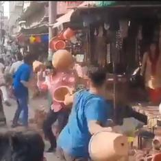 Caught on camera: Street-fight with earthen pots in UP's Hapur turns violent