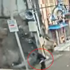 Caught on camera: Building collapses in Hyderabad, woman walking nearby escapes unhurt