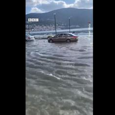 Watch: This mini-tsunami in Samos island, Greece, was triggered by an earthquake in Turkey