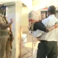 Watch: Man carries his elderly mother in his arms to polling booth in Gwalior