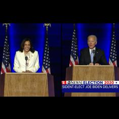 'Now the real work begins, the hard work': Watch Kamala Harris's and Joe Biden's victory speeches