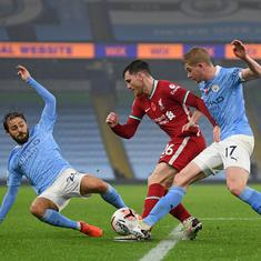 Premier League: Kevin De Bruyne misses penalty as Liverpool hold Manchester City 1-1 at Etihad