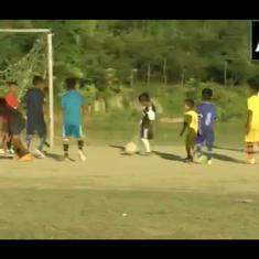 Watch: Class four student from Manipur plays football with a single leg