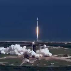 Caught on camera: Launch of SpaceX's Falcon 9 recorded from a helicopter