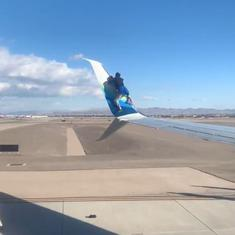 Watch: Man climbs on aircraft wing before takeoff, falls off