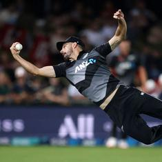 Watch: New Zealand's Daryl Mitchell comes on as a substitute fielder and takes a spectacular catch