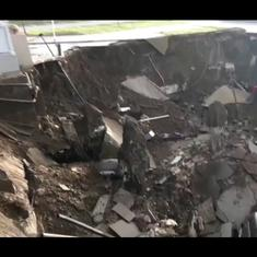 Watch: Massive sinkhole swallows at least three cars in hospital parking space