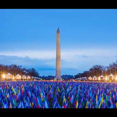 Watch: Staggering time-lapse of nearly 200,000 flags covering National Mall for Biden inauguration