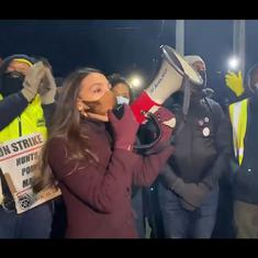 Watch: Alexandria Ocasio-Cortez spent inauguration day at a protest in the Bronx, New York