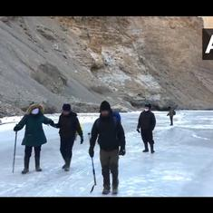 Watch: Tourists go on the popular Chadar Trek, travelling over a frozen river in Ladakh