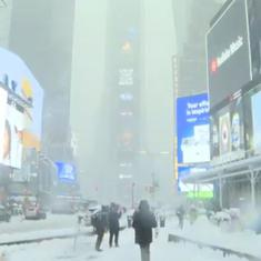 Watch: New York City's Times Square turns white as winter storm Orlena brings heavy snow to the city