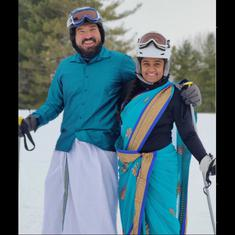 Watch: Couple wears saree and dhoti to ski in a village in the United States