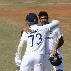 Watch: R Ashwin celebrates his Chennai century in style as Mohammed Siraj joins in