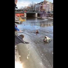 Watch: Skaters fall into freezing canals after ice cracks and breaks in Amsterdam