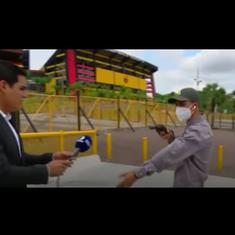 Watch: News crew robbed at gunpoint on live television in Ecuador