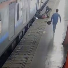 Watch: Policewoman saves passenger who tried to board a moving train at Lucknow railway station