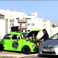 Watch: Jordan resident turns his car into coffee-shop-on-wheels