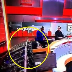 Live on air: Part of television set collapses on ESPN Colombia journalist