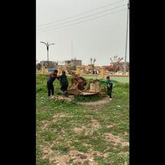 Watch: Children play on an old cannon near Turkey's Halabja monument on anniversary of 1988 massacre
