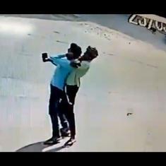 Caught on camera: Two men choke pedestrian, snatch his mobile phone in Delhi's Ashok Vihar
