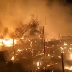 Watch: Fire sweeps through Rohingya refugee camp in Jammu