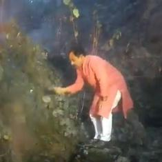 Watch: Uttarakhand minister Harak Singh Rawat tries to douse forest fires with a bush as cameras run
